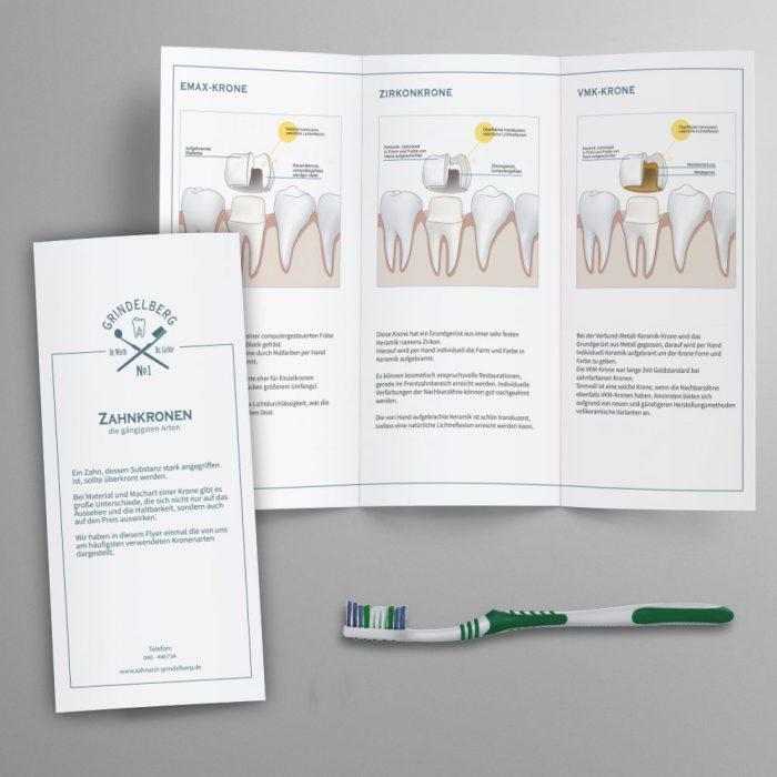 Praxisdrucksachen und Flyer-Gestaltung für Zahnarztpraxis
