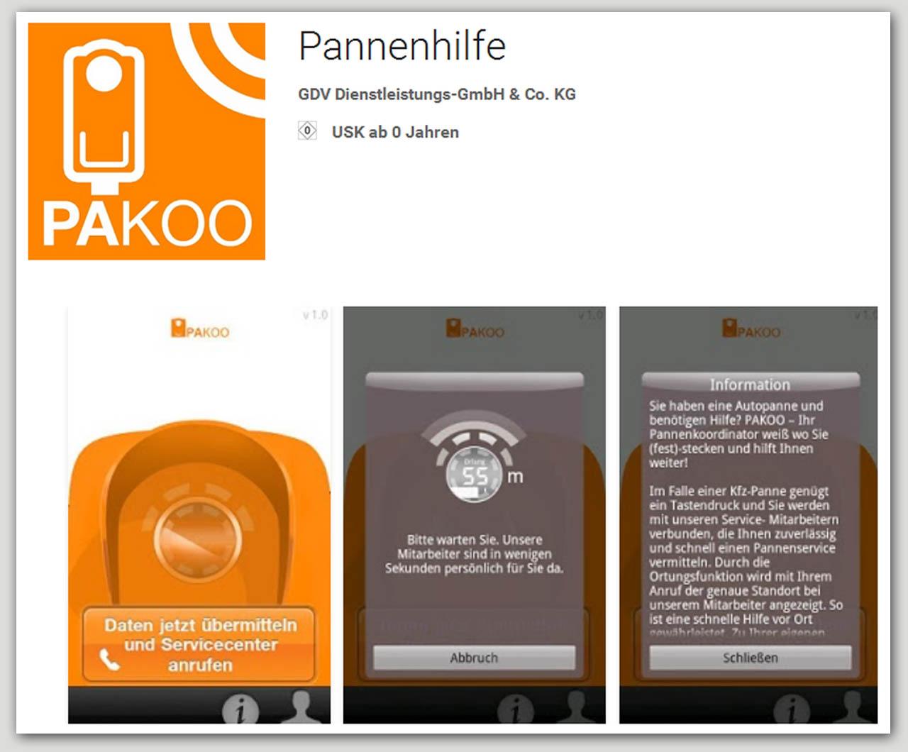 Smartphoneapp für Pannenhilfe