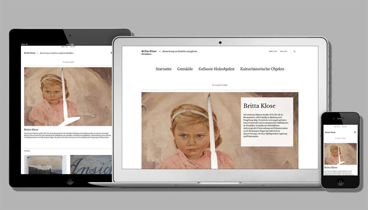 webdesign, Portfolio-Homepage für eine Restauratorin