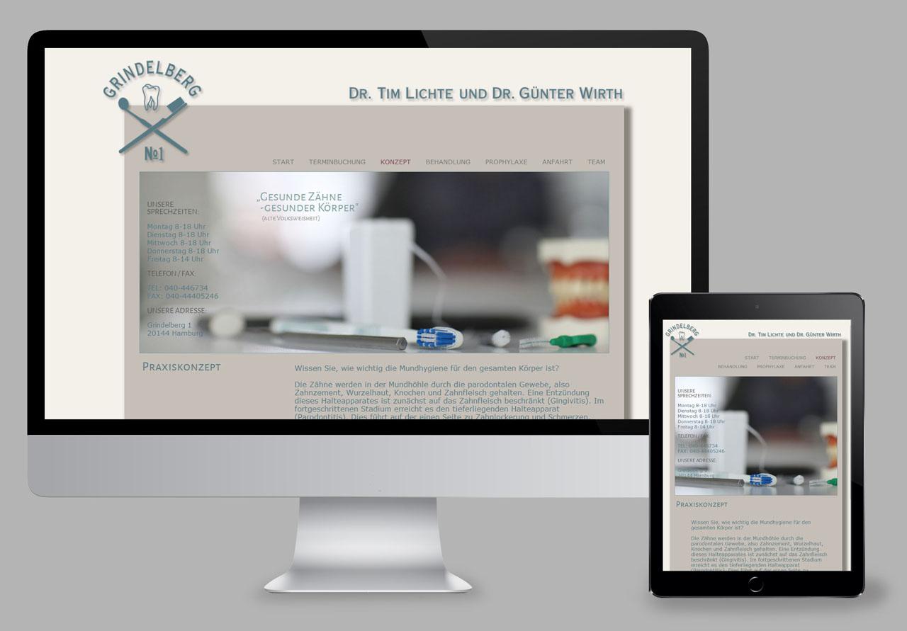 Geschäftsausstattung und Webdesign /Zahnarzt Grindelberg