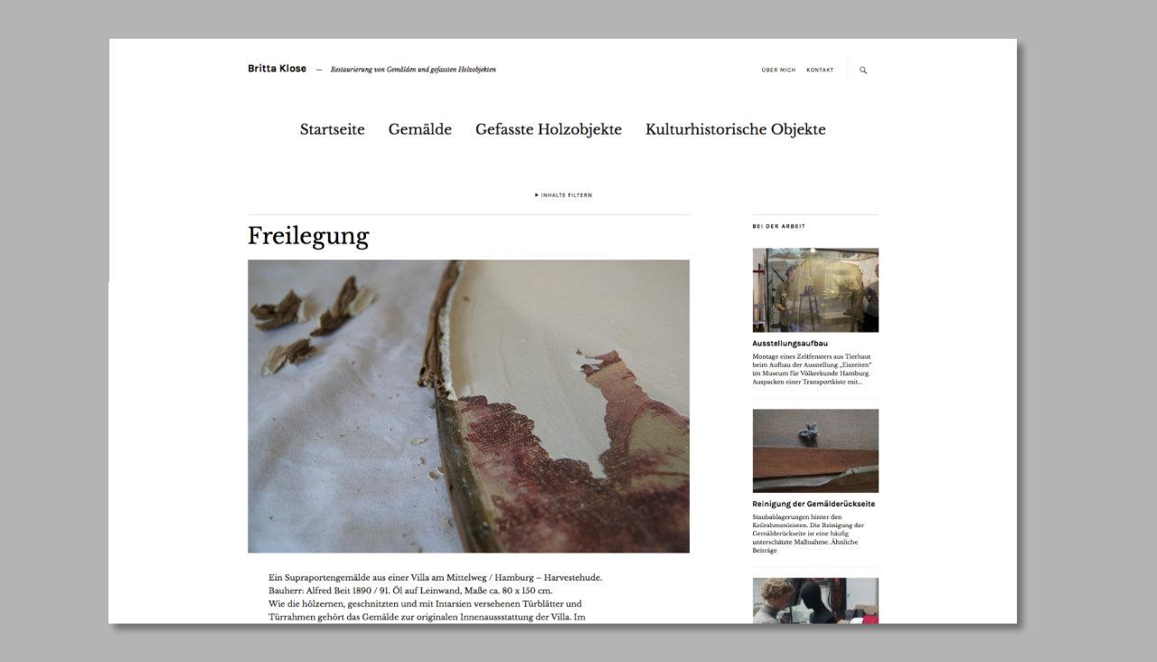 Projektseite eines Online-Portfolios