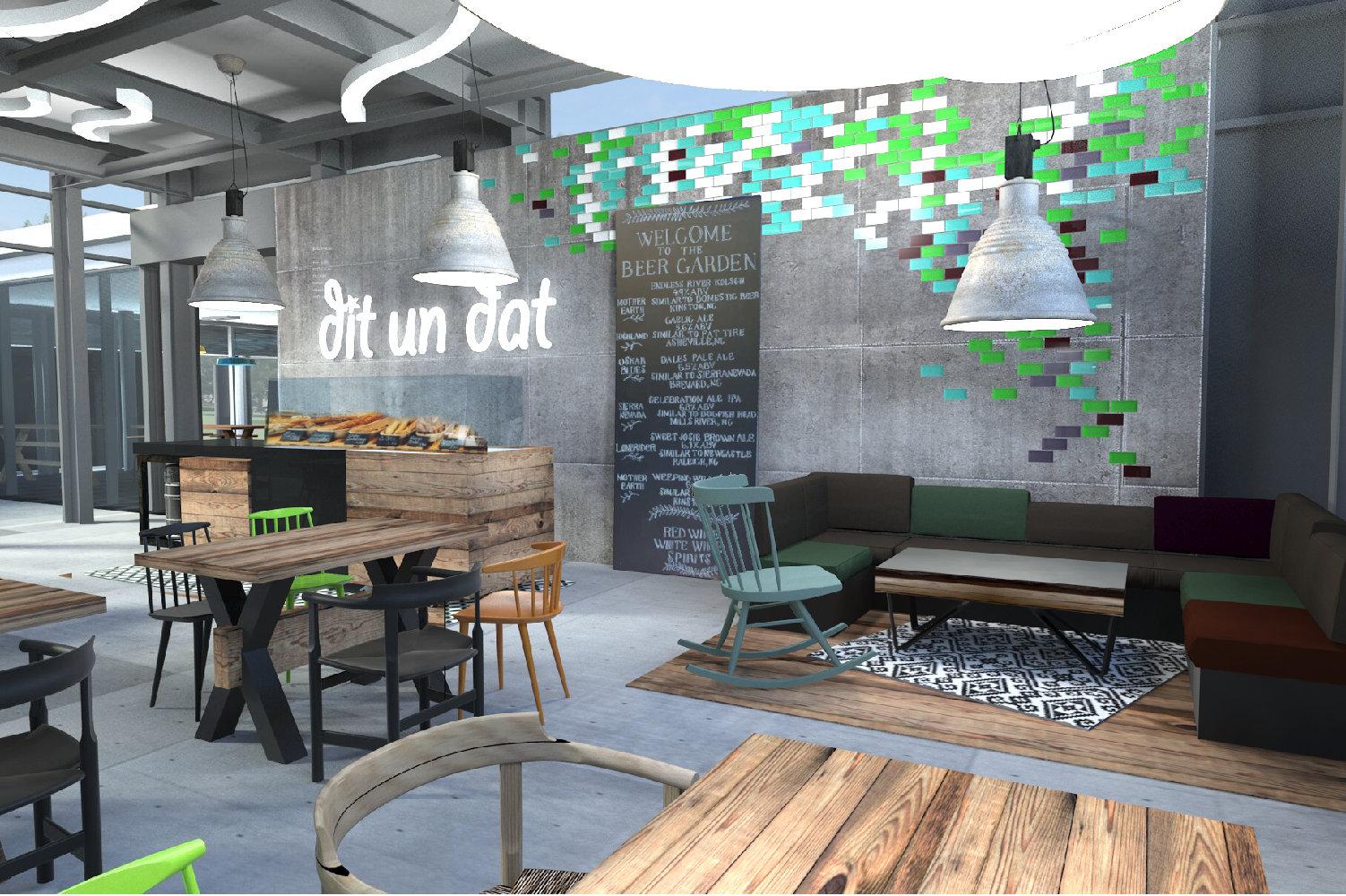 Entwurf für das Café der Eisbahn in Planten un Blomen