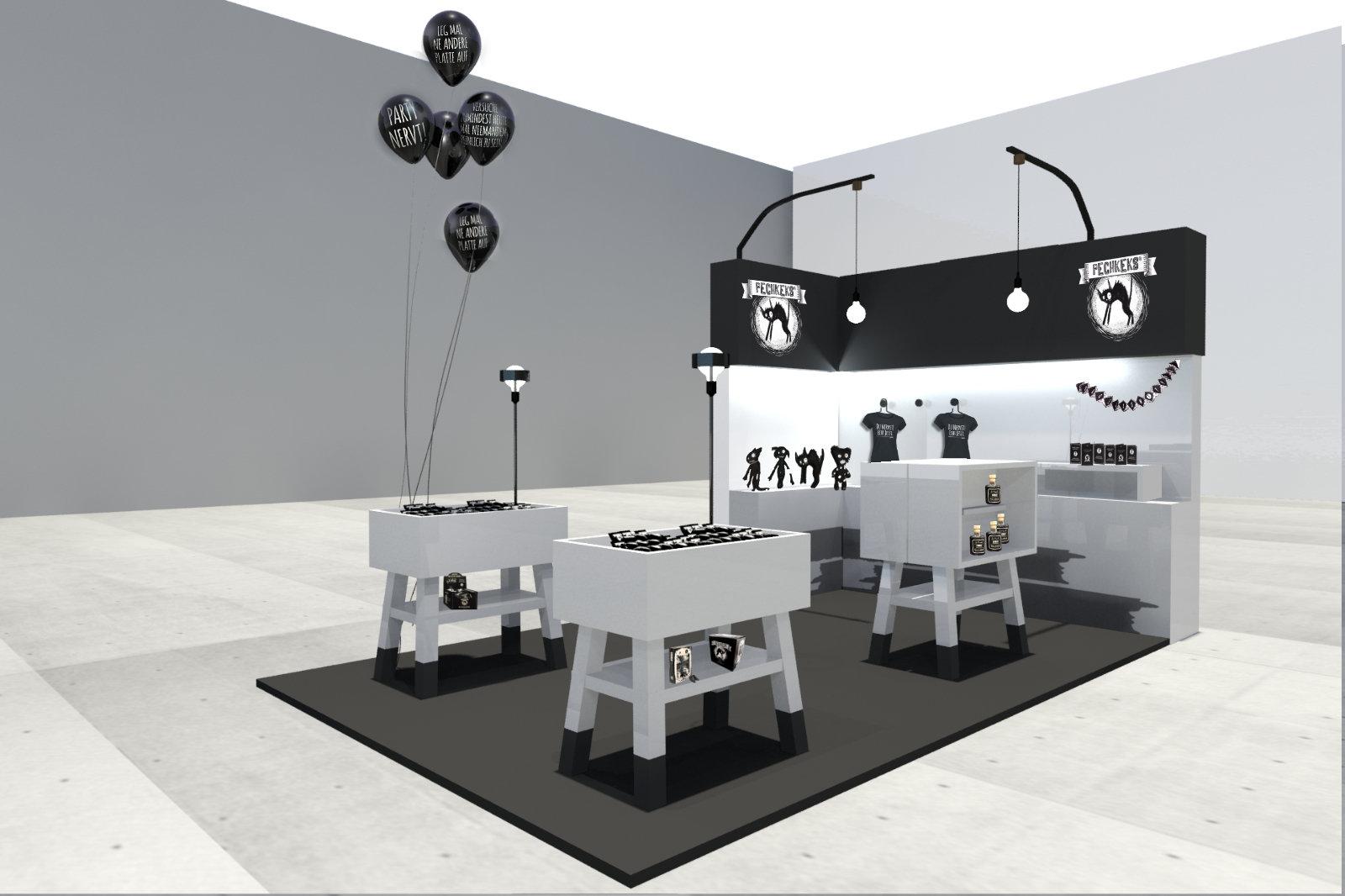 Messetand-Entwurf Schwarz Weiß