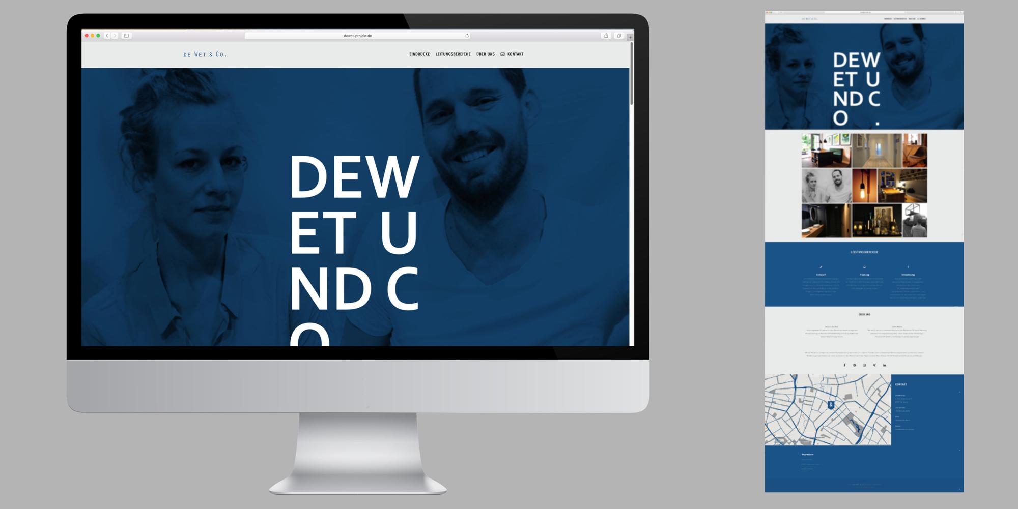 Onpage - Darstellung der Website von Dewet und Co
