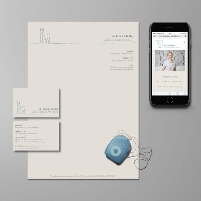 Geschäftsausstattung & Webdesign Zahnarztpraxis