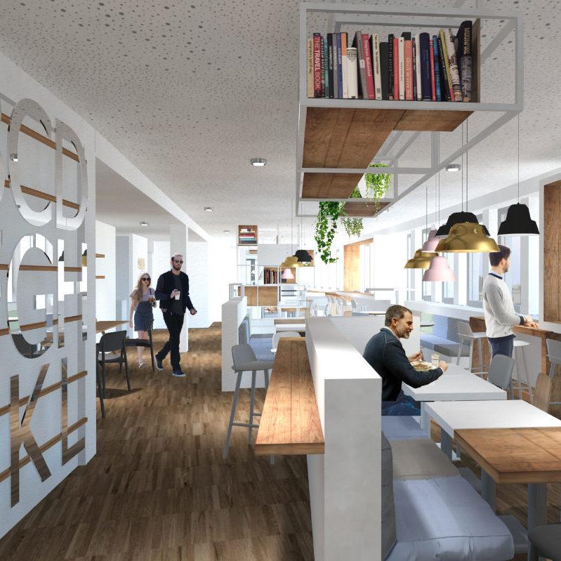 3D-Visualisierung Interiordesign Mitarbeiterräume Kantine