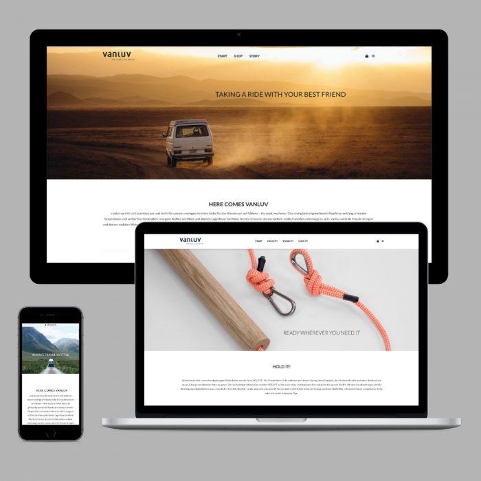 Gestaltung einer Website mit webshop /VANLUV