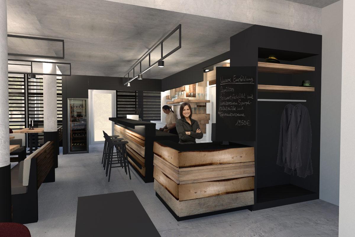 Restaurant design im industrial style beton