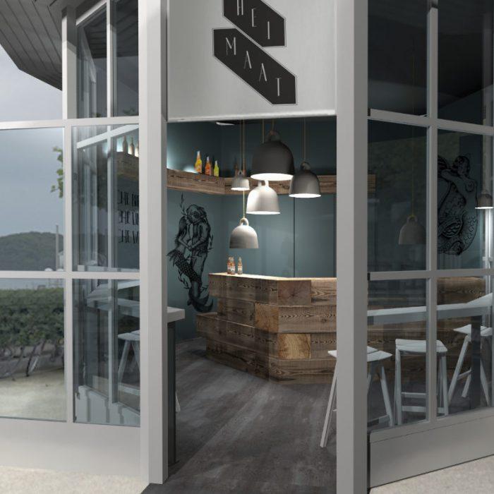 Bar Design und 3D-Visualisierung für Strandbar im Pavillon