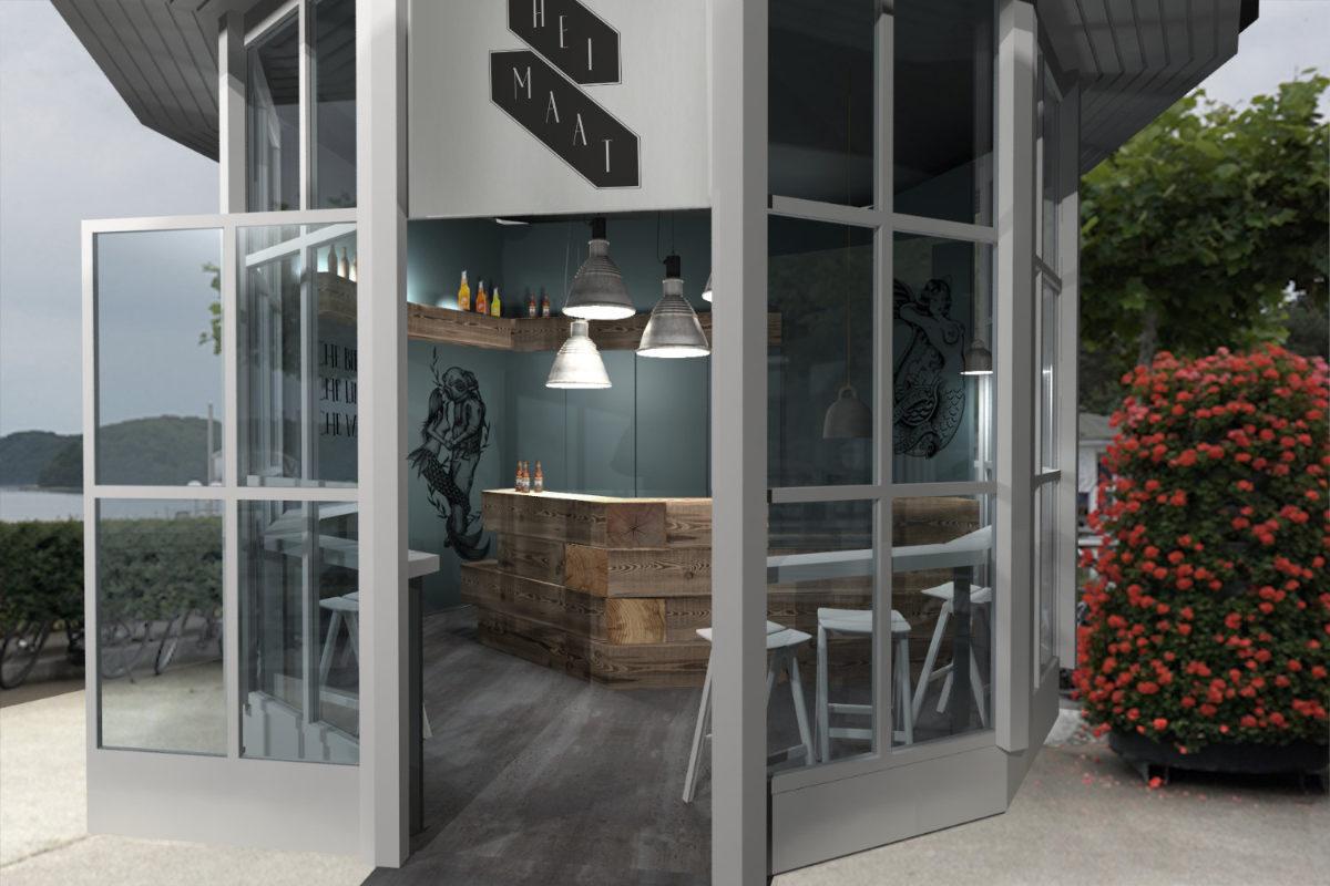 3D-Visualisierung Gastronomie Interior Strand-Bar im Pavillon