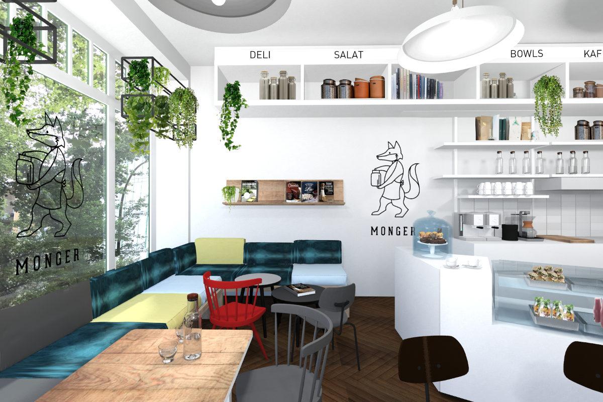 Shopdesign mit Cafe und Sitzbereich für Lebensmittelhandel