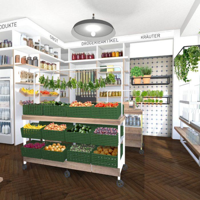 Shopdesign für ein Zero-Waste-Laden mit Café