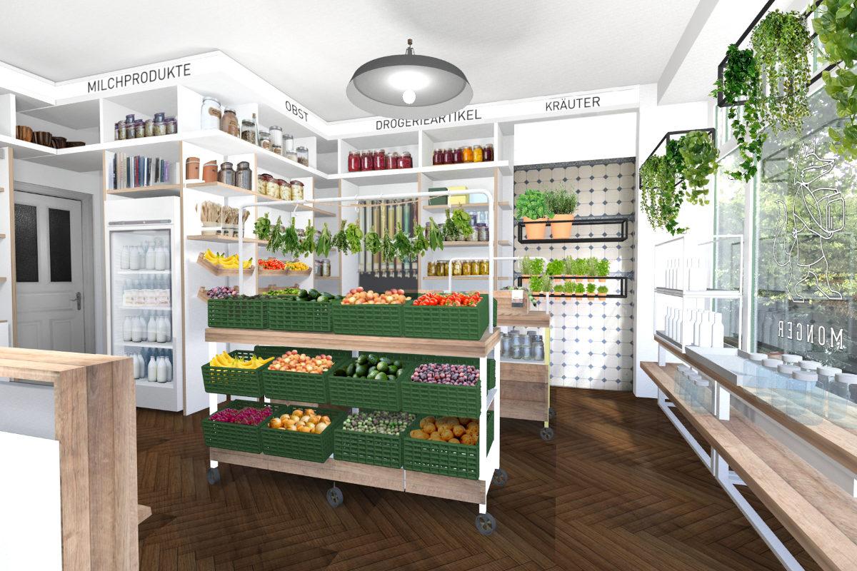 Shop-Design Displays und Verkaufsfläche für Lebensmittelhandel