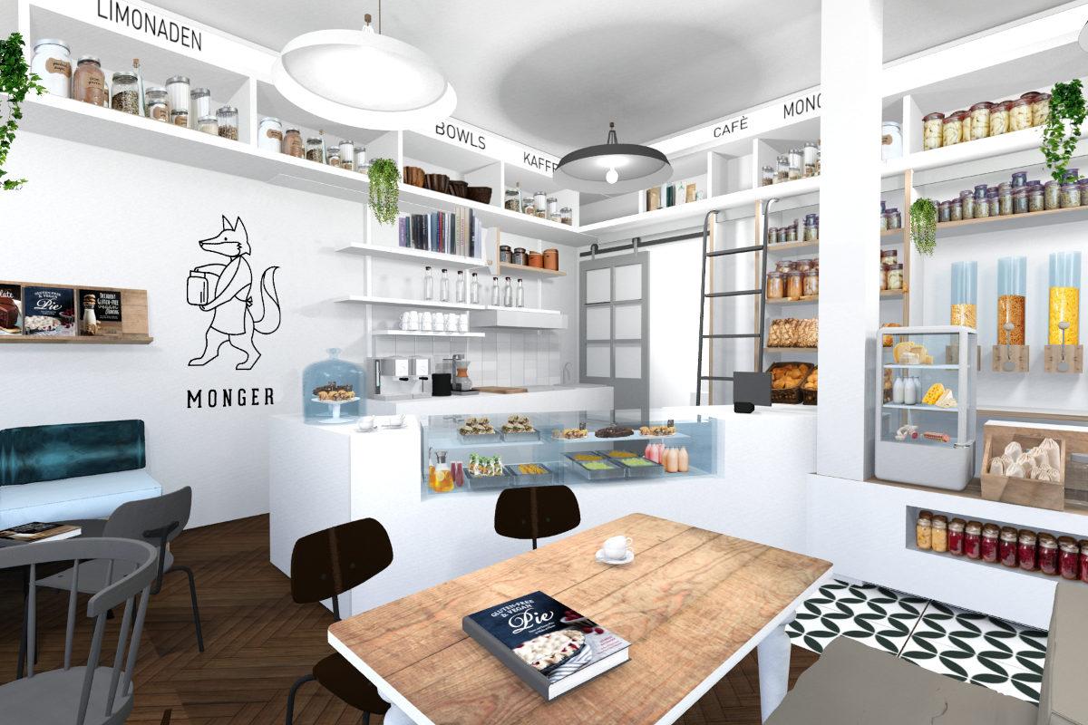 Shopdesign mit Cafeeinrichtung von Retail Design Agentur JUNI.STUDIO