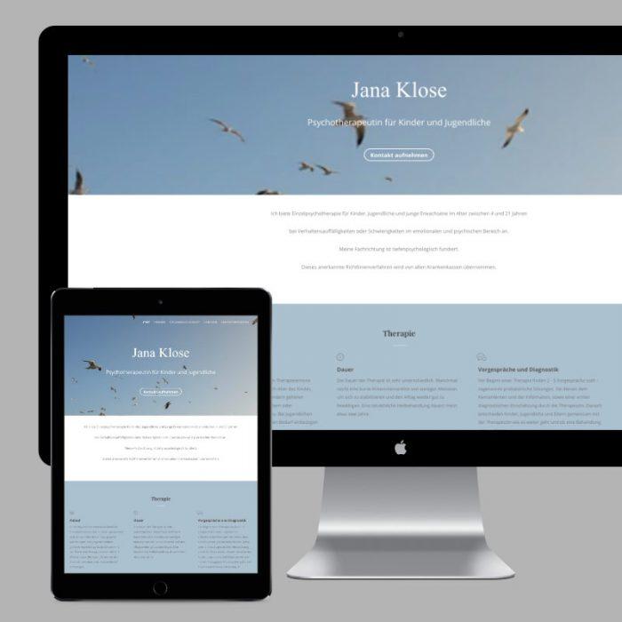 Praixis Homepage für eine Therapie-Praxis in Hamburg