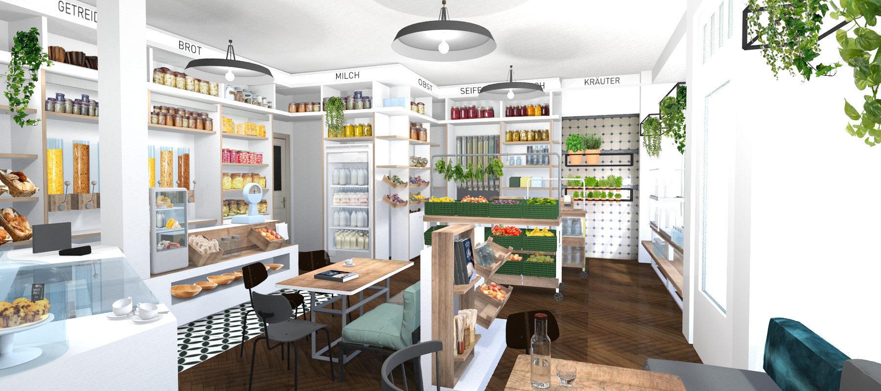 Interior-Design und 3D-Visualisierung unverpacktladen