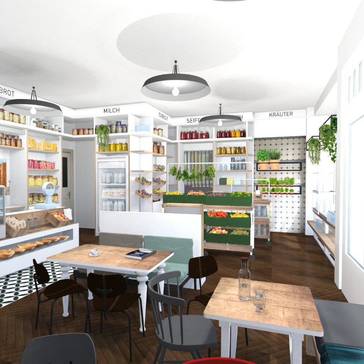 Interior-Design 3D-Visualisierung Zero-waste-Café