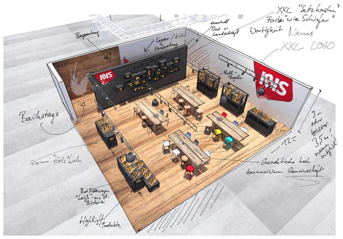 Messestand-Design Skizze für IBIS auf der ISM