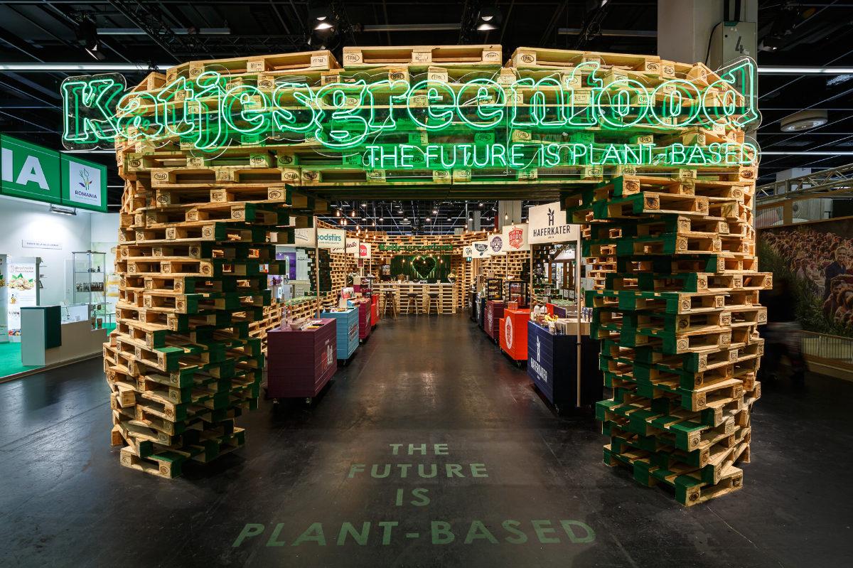 nachhaltiger Messebau, Design für Messestand Katjes Green Food