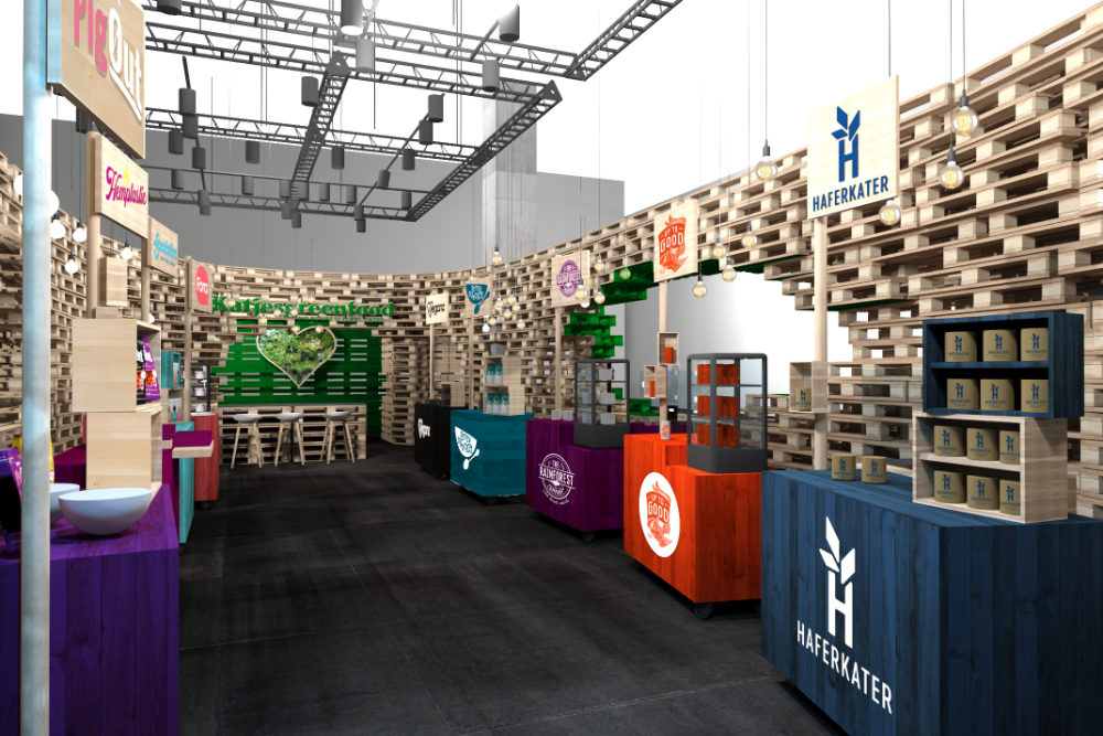 Messedesign, Entwurf für Messestand Katjes Green Food