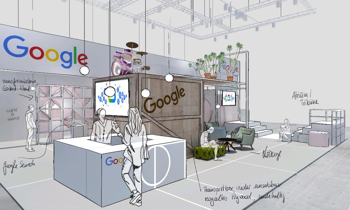 Messedesign für Google auf der OMR in Hamburg